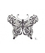Akimova: BUTTERFLY, black and white, insect, ACEO - $3.99