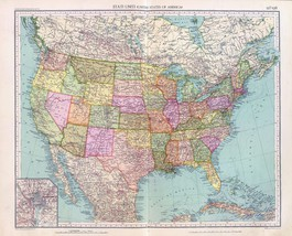 1929 antique map poster UNITED STATES of AMERICA old early history USA T... - $14.85