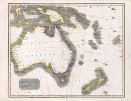 1817 THOMSON poster of antique map New Holland Asiatic isles 079 - $14.85
