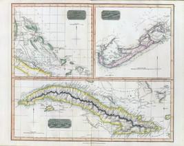 1817 THOMSON poster of antique map Cuba Bahama Bermudas 067 - $14.85