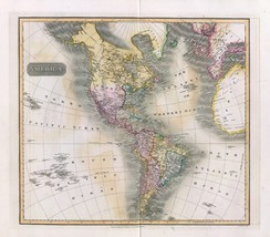 1817 THOMSON poster of antique map America New World 057 - $14.85