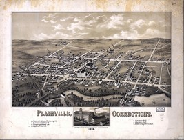 An item in the Everything Else category: 1878 map GENEALOGY atlas  poster LAINVILLE panoramic old CONNECTICUT map  CT 34