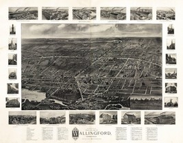 An item in the Everything Else category: 1904 WALLINGFORD panoramic old CONNECTICUT map GENEALOGY atlas  poster CT 47