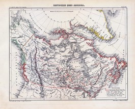 1854 Lange atlas poster of antique map of Canada Greenland british poses... - $14.85