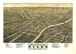 An item in the Everything Else category: oh35 Antique old panoramic map OHIO OH genealogy family history NILES 1882