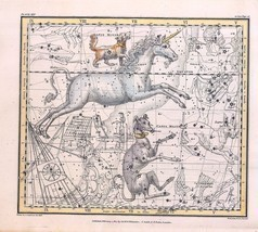 An item in the Antiques category: 1822 ASTROLOGY ATLAS Print poster old  DOG STAR constellation canis UNICORN 33