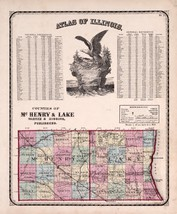 An item in the Everything Else category: 1870 KENDALL COUNTY Illinois Atlas old map poster GENEALOGY McHenry Lake 24