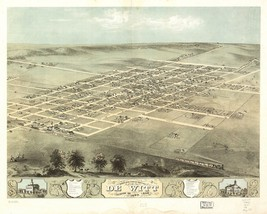An item in the Everything Else category: 1868 DE WITT panoramic IOWA map GENEALOGY atlas  poster CLINTON county IA 10