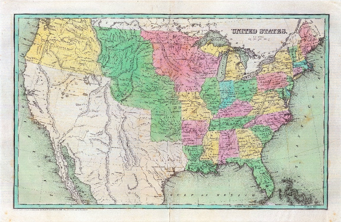 Items Similar To Texas Antique Map: 1838 Antique Map Poster UNITED STATES Of And 50 Similar Items
