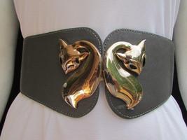 "New Women Hip High Waist Gray Elastic Fashion Belt Fox Gold Buckle 28""-3... - $17.63"