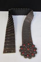 "New women hip waist brown elastic metal fashion belt red rhinestones 28""... - $17.63"