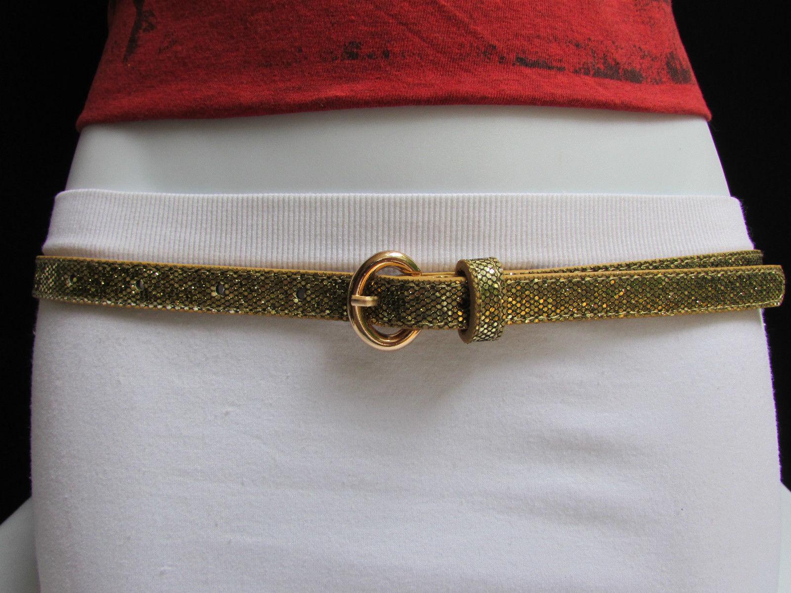 WOMEN HIGH WAIST HIP PINK NARROW FASHION BELT METAL GOLD BUCKLE SKINNY XS S M L