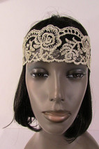 New Women Elastic Fabric Fashion Headband Big Flowers Beige / Black Lace... - €8,87 EUR