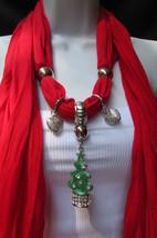 New Women Fashion Soft Scarf Green Snow Christmas Tree Metal Pendant Red... - $19.14 CAD