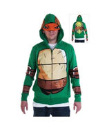 New TEENAGE MUTANT NINJA TURTLES Adult Hoodie Costume Mask Zip Jacket Sw... - £30.00 GBP