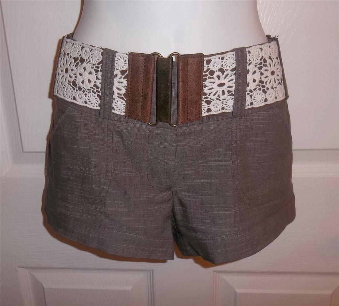 russe brown dress shorts w stretchy decorative