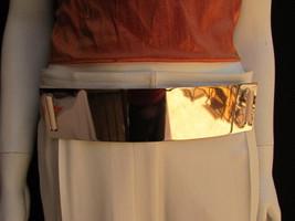 """Women High Waist Hip Gold Metal Plate Fashion Belt Elastic Beige 28""""-40""""... - $19.59"""
