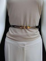 "WOMEN HIGH WAIST HIP BLACK ULTRA THIN FASHION BELT GOLD BUCKLE 22""-40"" X... - $14.69"