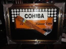 "Cohiba large size painting  43"" L x 31 W ""  brushed gold framed - $750.00"