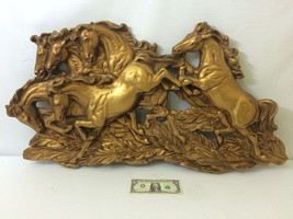 Universal Statuary Corp. Gold Wild Horses - Large Piece - 1965 - Free Sh... - $195.02