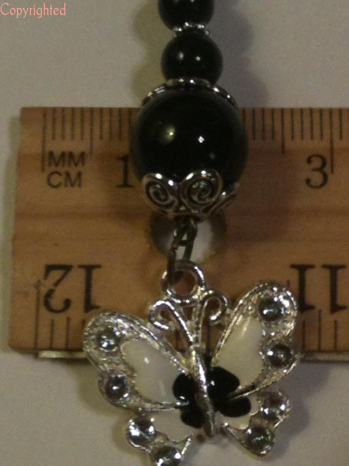 Black Wavy Mini Bookmark Dangling Black Beads & Butterfly with Rhinestones