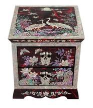 mother of pearl trinket jewelry box jewel organizer 2drawers crane & pin... - €81,54 EUR