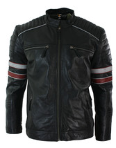 MEN'S BLACK RACING BIKER JACKET RED WHITE STRIPE REAL LEATHER CASUAL FIT - $119.99