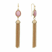 Liz Claiborne Women's Pink Oval Drop Earrings Gold Tone New - $16.82