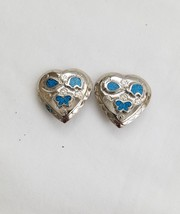 Vintage Trifari Molded Turquoise Blue Silver Clip On Earrings Elephants - $62.89