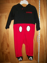 Disney Mickey Baby Clothes 3M-6M Mouse Footed Costume Hoodie Ear Hood Bo... - $16.14