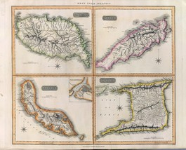 1817 THOMSON poster of antique map Grenada Trinidad and Tobago 074 - $14.85