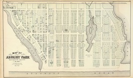 1878 old map poster Asbury Park Monmouth County Genealogy NEW JERSEY SHO... - $14.85