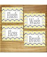 Yellow and Gray Chevron Zigzag Print Wall Art Bathroom Bath Decor Floss ... - $14.99