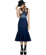 NWT $400 Self Portrait Midi Dress With Contrast Lace Bodice and Flute He... - $300.00