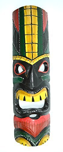 "20"" HAND CARVED TIKI MASK HAWAIIAN POLYNESIAN WALL ART TRIBAL BAR TROPICAL"