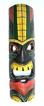 "20"" HAND CARVED TIKI MASK HAWAIIAN POLYNESIAN WALL ART TRIBAL BAR TROPICAL - ₨1,471.40 INR"