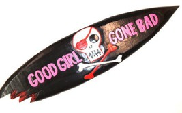 Pink Black Good Girl Gone Bad Surfboard Sign with Shark Bite Wood [Kitchen] - $34.94