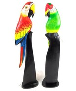 HAND CARVED PAIR SET OF 2 GREEN AND RED WOOD PARROTS BIRDS ON STANDS [Ki... - $54.94