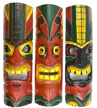 20 IN HAND CARVED BEAUTIFUL SET OF 3 POLYNESIAN TIKI GOD MASKS [Kitchen] - $59.94