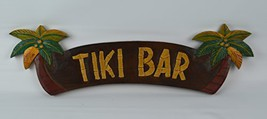 Large Hand Carved Tiki Bar Sign with Two Palm Trees 3D 22in [Kitchen] - $18.94