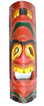 "20"" HAND CARVED ROYAL RED TIKI MASK HAWAIIAN POLYNESIAN WALL ART TRIBAL ... - $19.99"