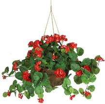 Nearly Natural 6609-RD 24in. Geranium Hanging Basket Silk Plant - $36.21