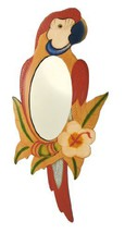 Hand Painted Wooden Red Parrot Mirror 25 In. [Kitchen] - $39.99