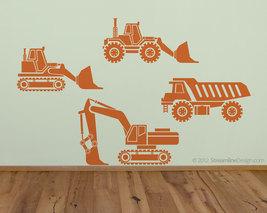 Kids Big Rig Construction Vehicles Set Vinyl Wall Art Decor - $26.95