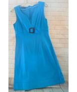 Sandro Ferrone  44EU 10US Turquoise Cotton Sleeveless V Neck Empire Wais... - $32.48