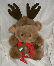 "12"" VINTAGE ENESCO BROWN CHRISTMAS MOOSE STUFFED ANIMAL PLUSH TOY W/ RED... - $23.01"
