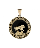10K or 14K Yellow Gold & Onyx Leo Zodiac Pendant - $599.99+