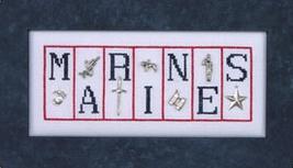 Marines Charmed Mini Block cross stitch chart with charms Hinzeit - $19.80
