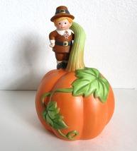 Vintage 1990 Collectible Avon Thanksgiving Bell -Pilgrim Standing on Pumpkin - $12.99