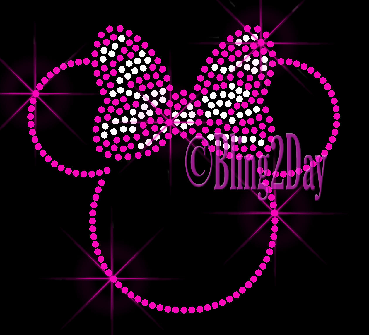 Primary image for PINK Outlined Minnie - Zebra Bow - Iron on Rhinestone Transfer Bling Hot Fix DIY